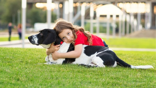 Beautiful girl hugging dog